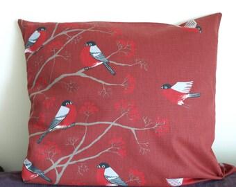 Pillow cover red black grey birds Robins Rowan tree Birch Birds Botanical Decorative pillow for Throw pillows Floor Cushions Accent Pillows