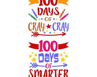 100 days smarter back to school Cuttable Design SVG PNG DXF & eps Designs Cameo File Silhouette