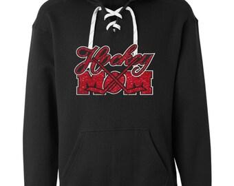 Women's Glitter Hockey Mom lace hoodie