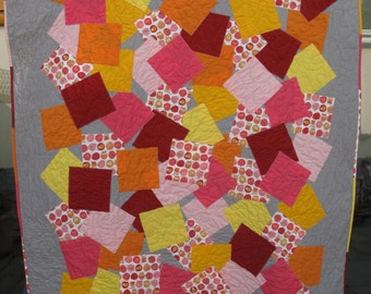 Confetti Single Bed Patchwork Quilt with cute orange and pink owls
