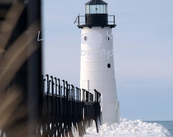 Color photograph of Manistee Lighthouse in the Snow
