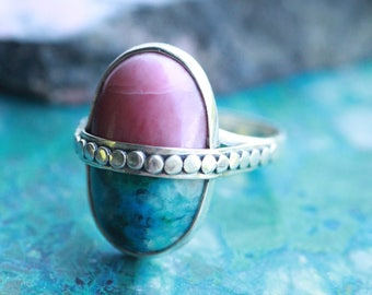 Chrysocolla Ring, Pink Jasper Ring, Split Gemstone Ring, Half and Half Ring, Boho Rings, Handmade Rings, Bohemian Jewelry, Personalised Ring