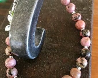 Rhodonite bracelet, beautifully shaded in pinks, taupe and black with Citrine accents.