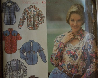 Simplicity 8259, sizes 6-10, western shirts, blouses, womens, misses, UNCUT sewing pattern, craft supplies