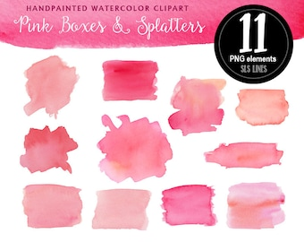 Pink watercolor boxes rectangles and splatters, watercolor clipart square shapes pink and peach, graphic set PNG files, instant download