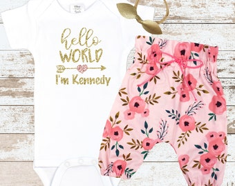 Personalized Hello World Coming Home Outfit | Custom Hello World Take Home Outfit | Pink Flower High Waisted Pants | Newborn Take Home