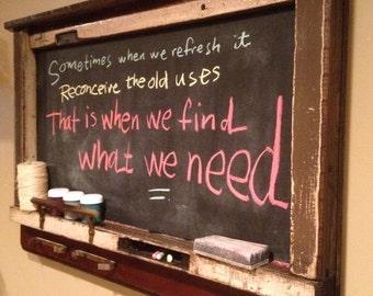 Framed chalkboard with shelf Upcycled rustic Schoolhouse chalkboard