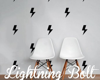 Lightning Bolt Wall Decal Pack, Modern Geometric Pattern Vinyl Wall Stickers WAL-2174