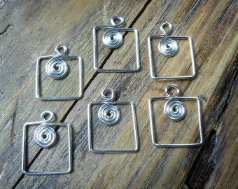 6 square silver charms or dangles, spiral in square, 20 ga silver plated wire, bold design, hand crafted jewelry findings, more available.