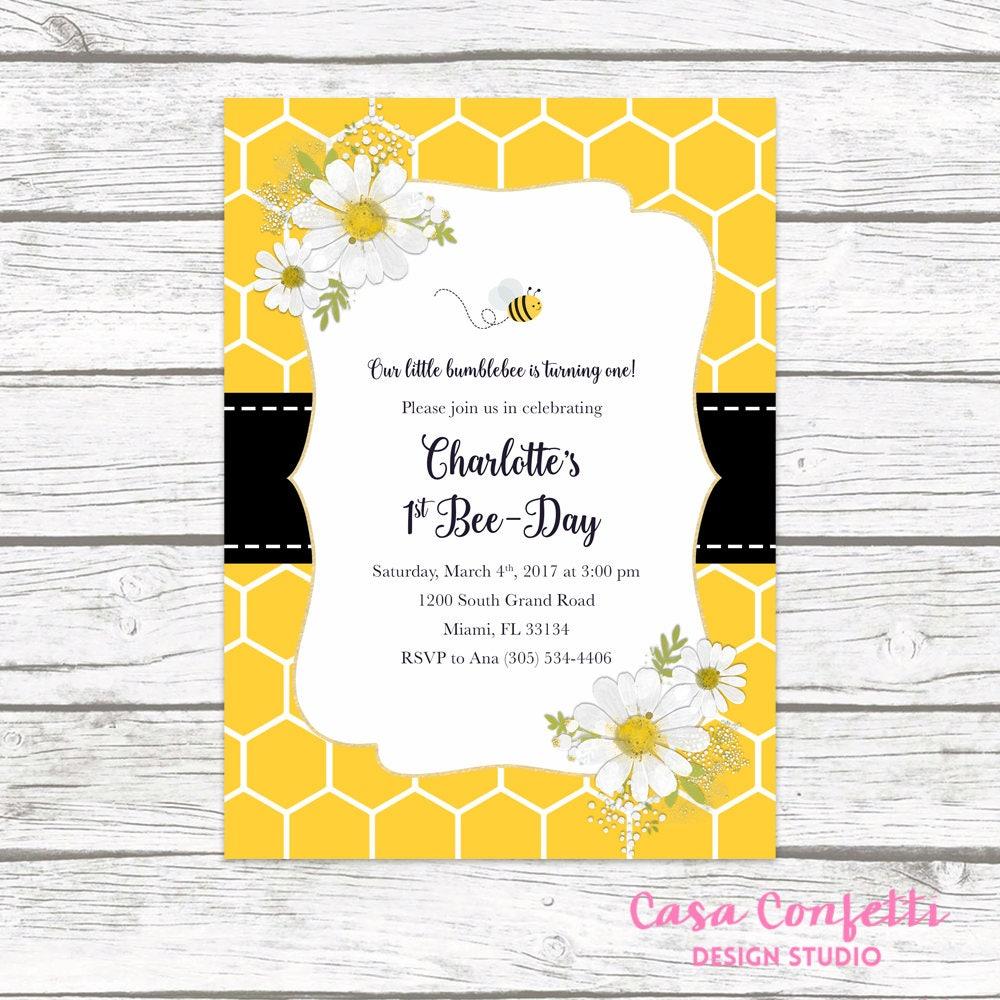 Bee Birthday Invitation, Bee Invitation, Bee-Day Invitation, Bee ...