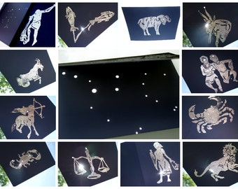 1 SAMPLE* CONSTELLATION Place CARD Signs of the Zodiac Starry Night Shadow Astronomy Birthday Hand Printed Embossed Sapphire Blue & Silver