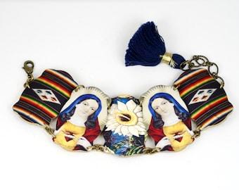 Madonna Cactus Serape Mexican Folk Art Linked Bracelet Frida Bracelet Ethnic Bracelet Southwestern Bracelet