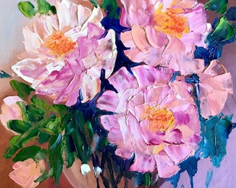 Palette Knife Oil Painting, Still Life Painting, Flowers Painting, Wall Art, Abstract Art, TetianaArt