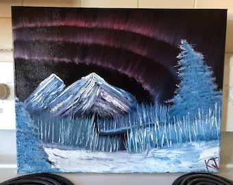 Snow Northern Lights - OIL - one of a kind painting