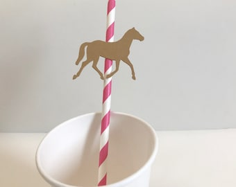 12 Paper Straws with Horse