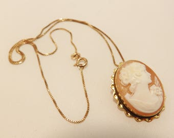 Sterling Silver Gold Cameo Necklace or Brooch