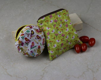 Organic snack bag set, Reusable snack bags, Eco-friendly Snack Bag, Organic fabric, Organic cotton fabric, Spring motif