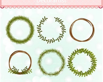 ON SALE Frame clipart, leaf wreath clipart, green christmas Wreaths clipart, printable, instant download