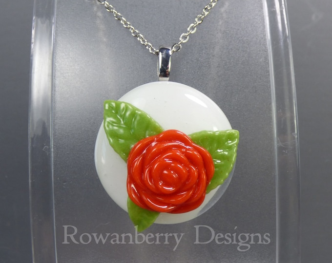 Featured listing image: VINTAGE ROSE - Handmade Fused Glass & Stainless Steel Pendant Necklace - Rowanberry SRA  - art painting- RSFP4