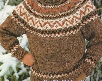 Vintage Mens Nordic Fair Isle Chunky Sweater Knitting PDF Pattern