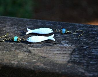 White Fish Earrings whimsical handmade jewelry gift