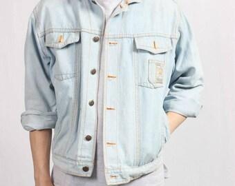 Mens Denim Jacket Vintage 90s Retro