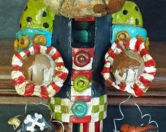 Folk Art Style English Bulldog  Pirate Halloween Nutcracker Vintage Nostagic Style New Handmade