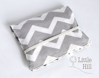 Crayon Wallet, 8 Crayons and Notepad Included, Art Party Favors, Kids Birthday Favors, Wedding Favors, Kids Organizer, Aqua Grey Chevron