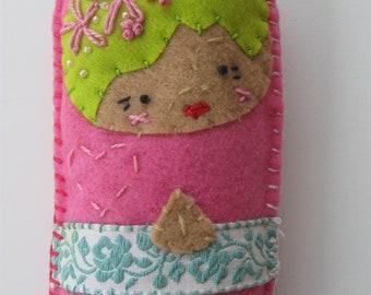 embroidered folk art rag doll Jeanie
