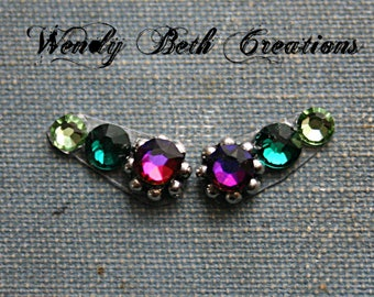 Purple and Green Accent Bindi Pair - Tribal Belly Dance, Facial Jewelry, Purple, Third Eye, Green - Made Upon Order/Not Ready To Ship