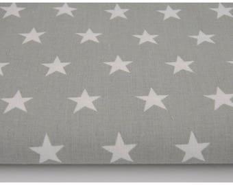 100% cotton fabric piece 160 x 50 cm, textile printing, 100% cotton Star 2cm on a grey background
