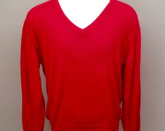Vintage sea island cotton v neck  sweater, red