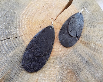 Black Leather earrings, genuine leather earrings, long earrings, leather jewelry, leaf earrings,  lightweight earrings, fringe