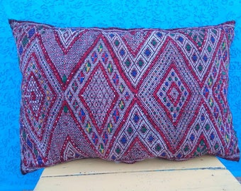 Vintage Berber cushion, handmade with natural wool and cotton by Berber woman