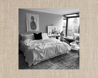 Natural Beauty Beige Linen Coverlet - Bold Bedding - Made to Order in the USA