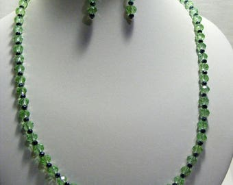 Green and Black Crystal Jewellery Set