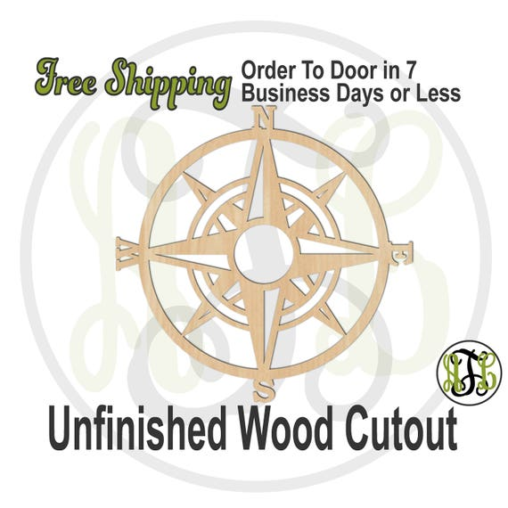 Compass Rose - 50018- Nautical Cutout, unfinished, wood cutout, wood craft, laser cut wood, wood cut out, Door Hanger, Out to Sea, wall art