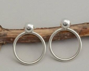 Front back ball stud earrings double sided sterling silver hoop ear jacket earrings simple minimalist lightweight earrings gift for her