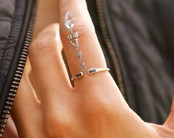 Adjustable Blue Kyanite Open Front Ring. Blue Kyanite Ring. Kyanite Ring. Adjustable Ring. Adjustable Kyanite Ring.