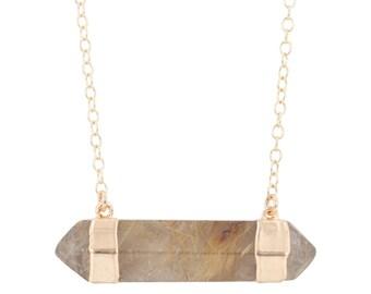 Rutilated Quartz Necklace, Electroplated Gemstone Necklace, Double Point Quartz Necklace, Boho Jewelry, Boho Style, 28 inch long, #6352-yg