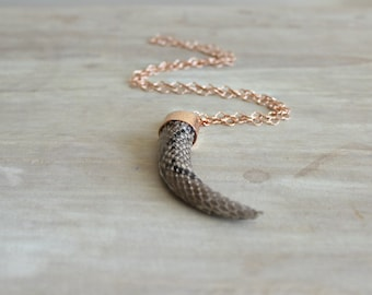 Light Brown Python Covered Teeth Necklace with Rose Gold Chain, Teeth Pendant, Python Necklace