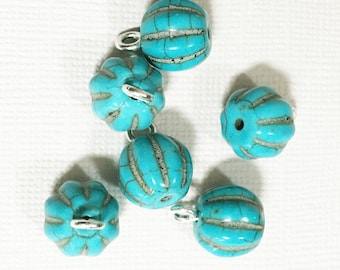 6 pcs Light blue Corrugated round Turquoise  drops , turquoise round drops, synthetic tuquoise 12x16mm