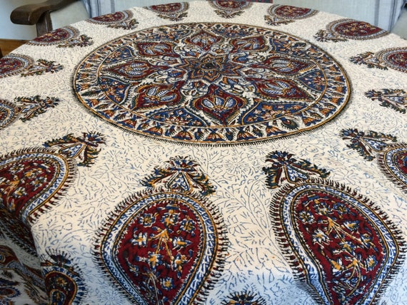 "Traditional 60"" inches round tablecloth , block printed paisley pattern round tablecloth , cotton tablecloth with tassels, cottage style"