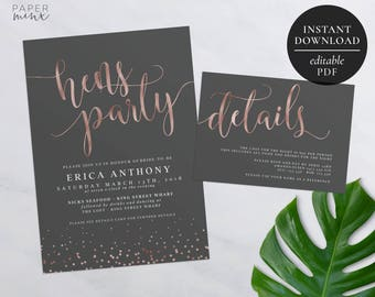Rose Gold Bachelorette Party Invitation | Editable PDF | Hens Night Invitation | Hens Party | Grey and Rose Gold Foil | Details Card | Foil