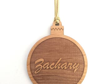 Personalized Wood Name Tag Ornament / Gift Tag