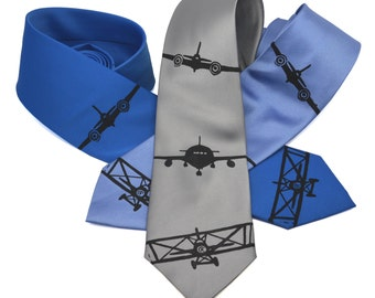Planes silkscreen neckties. Microfiber screen printed fighter plane aviation tie