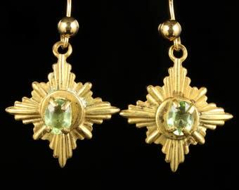 Peridot Gold Plated Star Drop Earrings
