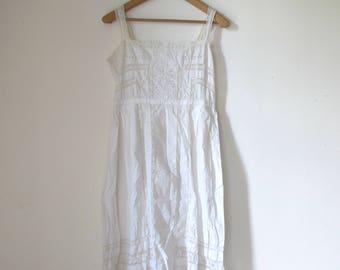 Antique French 1900s dress white romantic cotton gauze & crochet lace / Edwardian dress