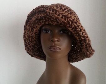 Wide Brimmed Crochet Hat, Brown Crochet Hat with Wide Brim, Crochet Wide Brim Cloche Hat, Crochet Sun Hat