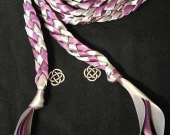 Amethyst Purple and Silver Grey Handfasting Ceremony Braid- Celtic Knot-- 6 or 9 feet- Wedding-Braided Together- Handfasting